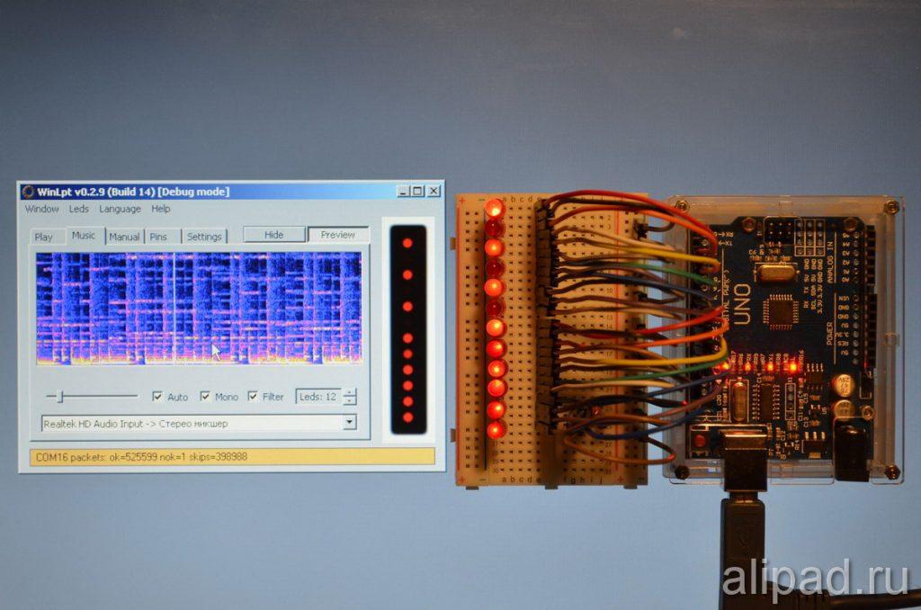Светомузыка на светодиодах с программой WinLpt